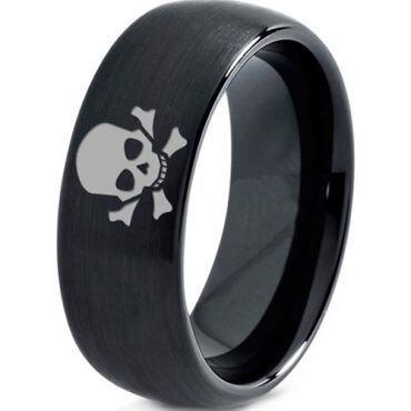 COI Black Tungsten Carbide Skull & Bones Dome Court Ring-TG2920