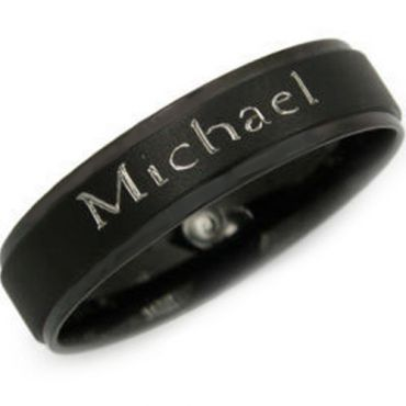 COI Black Tungsten Carbide Ring With Custom Name Engraving - TG2928