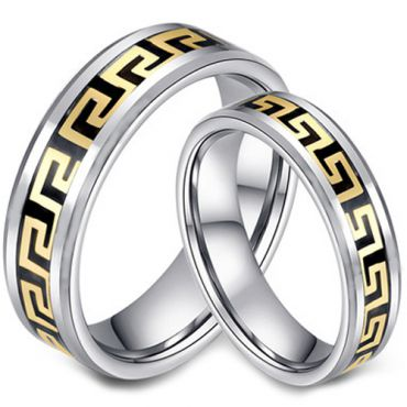COI Tungsten Carbide Black Gold Tone Greek Key Ring-TG2956A