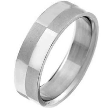 COI Tungsten Carbide Checkered Flag Pipe Cut Ring-TG2969