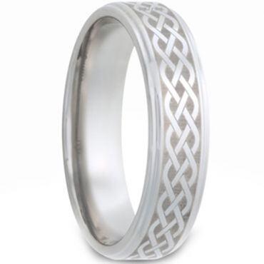 *COI Tungsten Carbide Celtic Step Edges Ring-TG2979
