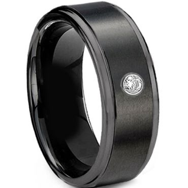 COI Black Tungsten Carbide Genuine Diamond Step Edges Ring-2981