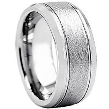 *COI Tungsten Carbide Sandblasted Double Grooves Ring-TG2425AA