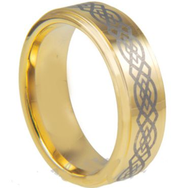 COI Gold Tone Tungsten Carbide Celtic Beveled Edges Ring-TG3028