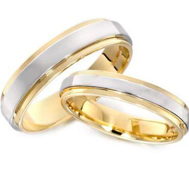 *COI Tungsten Carbide Gold Tone Silver Step Edges Ring-TG3032