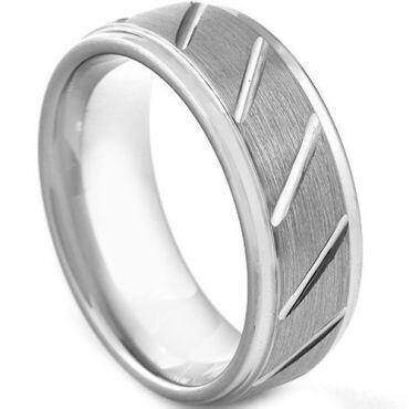 *COI Tungsten Carbide Diagonal Grooves Step Edges Ring-TG3045