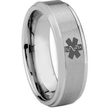 COI Tungsten Carbide Medic Alert Step Edges Ring - TG3056CC
