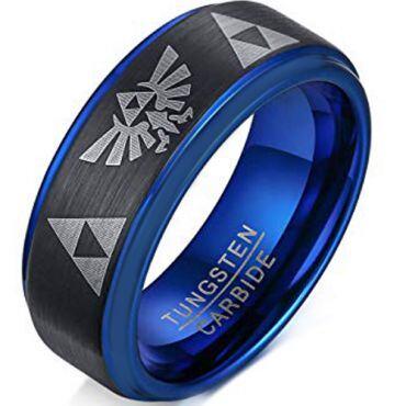 COI Tungsten Carbide Black Blue Legend of Zelda Ring-TG305BB