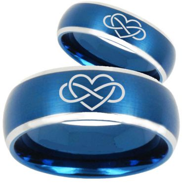 *COI Tungsten Carbide Infinity Heart Beveled Edges Ring-TG3063CC