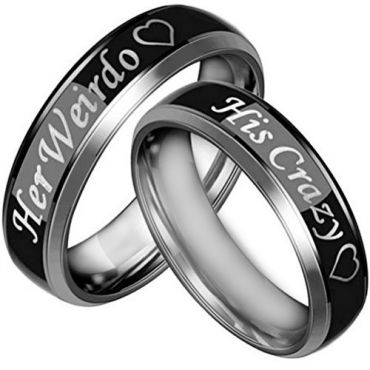 *COI Tungsten Carbide His Crazy Her Weirdo Ring - TG3067AA