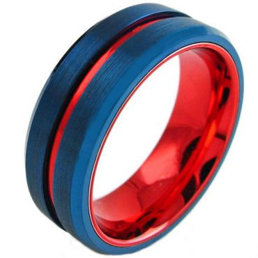 COI Tungsten Carbide Blue Red Center Groove Ring - TG3098