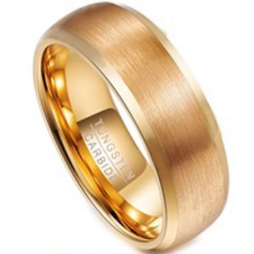 COI Gold Tone Tungsten Carbide Beveled Edges Ring-TG3108BB