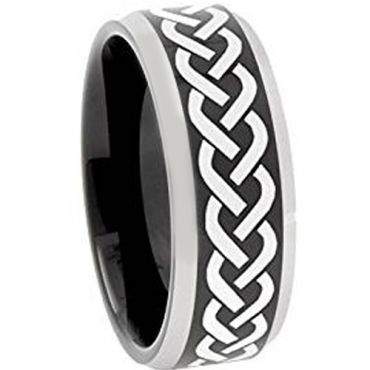 *COI Tungsten Carbide Celtic Beveled Edges Ring - TG3109AA