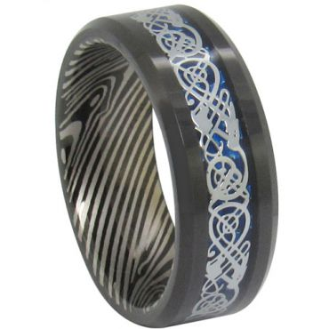 COI Black Tungsten Carbide Damascus Dragon Ring-TG1819