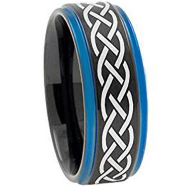 COI Tungsten Carbide Black Blue Celtic Step Edges Ring-TG3149AA