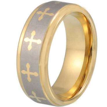 COI Gold Tone Tungsten Carbide Cross Beveled Edges Ring-TG1870