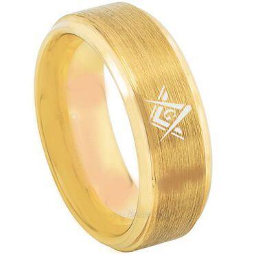 *COI Gold Tone Tungsten Carbide Masonic Step Edges Ring-TG3216BB