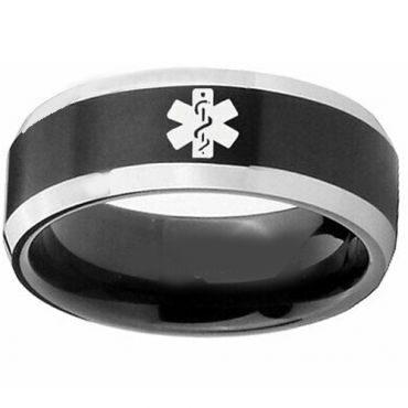 COI Tungsten Carbide Black Silver Medic Aert Ring-TG3218DD