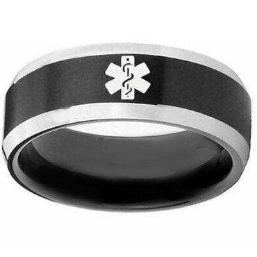 COI Tungsten Carbide Black Silver Medical Alert Ring-TG3218DD