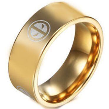 COI Gold Tone Tungsten Carbide DeadPool Flat Ring-TG3261B