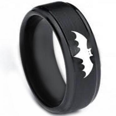 COI Black Tungsten Carbide Batman Step Edges Ring-3264