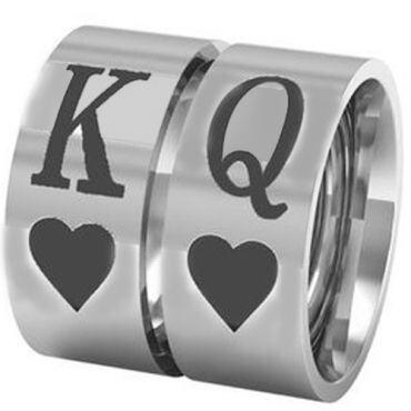 COI Tungsten Carbide King Queen Heart Pipe Cut Flat Ring-TG3287