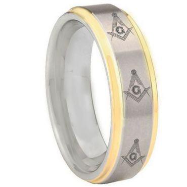 COI Gold Tone Tungsten Carbide Masonic Step Edges Ring-TG3303BB