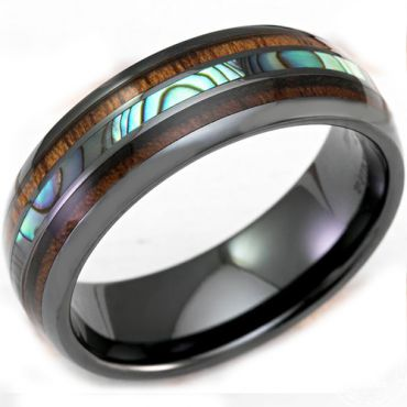COI Black Tungsten Carbide Abalone Shell & Wood Ring - TG3315