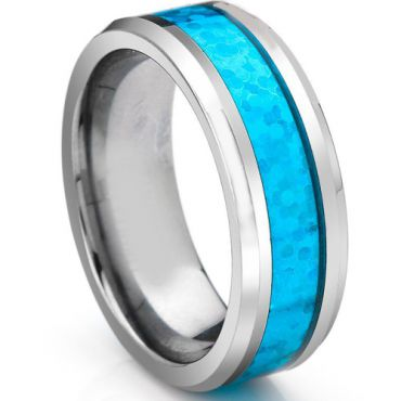 COI Tungsten Carbide Crushed Opal Beveled Edges Ring-TG3336A