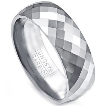 COI Tungsten Carbide Faceted Wedding Band Ring - TG333