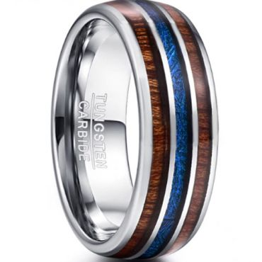 COI Tungsten Carbide Wood & Meteorite Dome Court Ring-TG3343BB