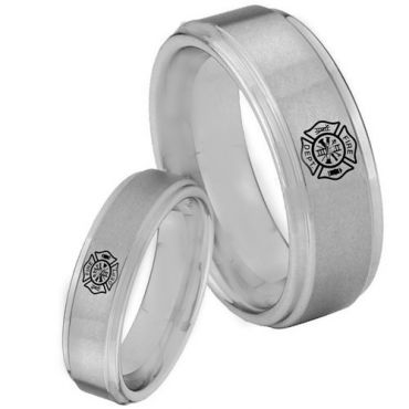 *COI Tungsten Carbide Firefighter Step Edges Ring - TG3360