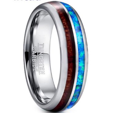 COI Tungsten Carbide Wood & Crushed Opal Dome Court Ring - TG3362BB