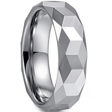 COI Tungsten Carbide Faceted Wedding Band Ring - TG3363B