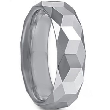 COI Tungsten Carbide Faceted Wedding Band Ring - TG3363B