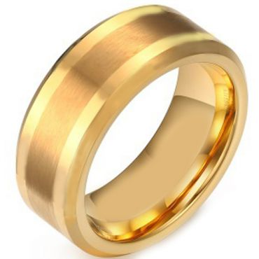 COI Gold Tone Tungsten Carbide Beveled Edges Ring-TG3364AA