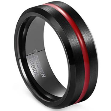 COI Tungsten Carbide Black Red Center Groove Ring - 3380