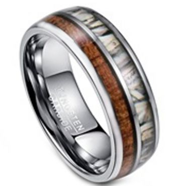 COI Tungsten Carbide Camo & Wood Dome Court Ring - TG3395BB