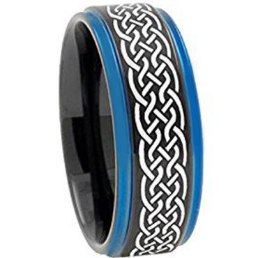 COI Tungsten Carbide Black Blue Celtic Step Edges Ring-TG3400