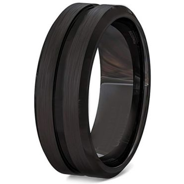 *COI Black Tungsten Carbide Center Groove Ring-TG3406BB
