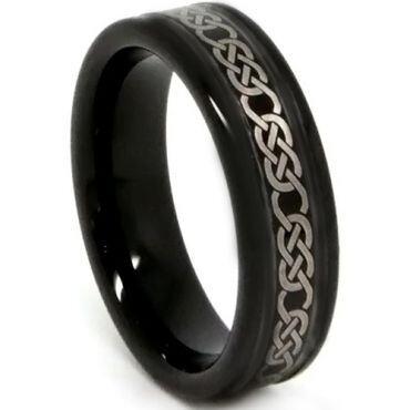 COI Black Tungsten Carbide Celtic Beveled Edges Ring - TG3407