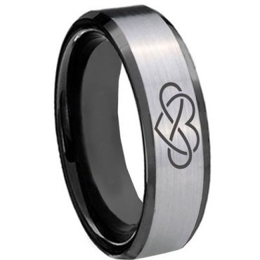 *COI Tungsten Carbide Infinity Heart Beveled Edges Ring-TG3437