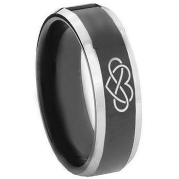 *COI Tungsten Carbide Infinity Heart Beveled Edges Ring - TG3446