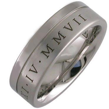 COI Tungsten Carbide Custom Roman Numerals Ring-3448