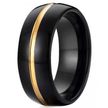COI Tungsten Carbide Black Gold Tone Center Groove Ring-TG4250