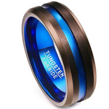 COI Tungsten Carbide Black Blue Center Groove Ring-TG3506A