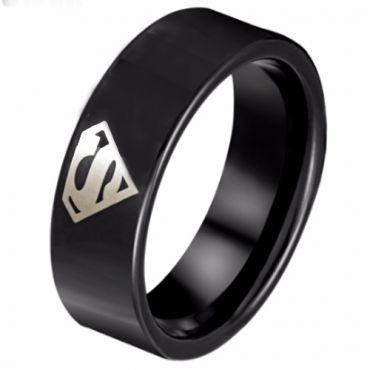 *COI Black Tungsten Carbide Superman Pipe Cut Ring-TG798AAA