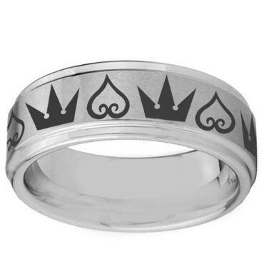 COI Tungsten Carbide Kingdom & Heart Step Edges Ring-TG3529BB