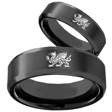 COI Black Tungsten Carbide Dragon Beveled Edges Ring-TG3539
