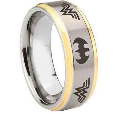 *COI Tungsten Carbide Batman & Wonder Woman Ring - TG4359